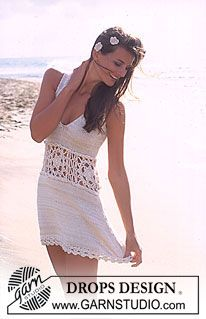 DROPS Dress with crochet waistband in Safran and Cotton Viscose ~ DROPS Design