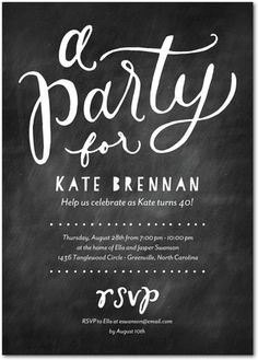 Dusted Delight - Adult Birthday Party Invitations in Black or Bright Red | Magnolia Press