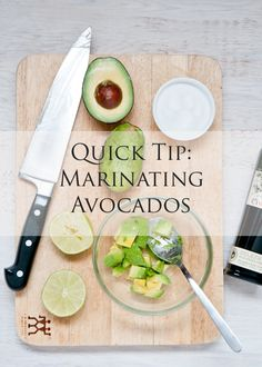 I love this tip from @Cafe_Johnsonia: Quick Tip: Marinating Avocados!!
