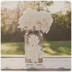 Lace and burlap wedding centerpiece. Lace and burlap wedding. Ivory lace.