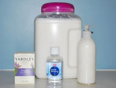 My version of the DIY liquid soap-  Ingredients - 8 oz bar of your favorite soap.  2 Tbsp of Liquid Glycerin (I found it at CVS) and 1 gallon of water.  Grate the entire bar of soap with a cheese grater, fill a large pot with 1 gallon of water, add in the soap shavings, then add the glycerin.  Turn the heat to medium and stir until the soap dissolves.  Let it cool, takes about 10-12 hours, then blend it with a beater until it is the consistency of Liquid Soap.  It is also the same consistency as snot, which sounds gross, but the kids had a great time playing with it!  Good clean fun.  I got over a gallon of Liquid handsoap for less than $2!!
