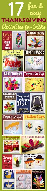 Thanksgiving Crafts and Activities for kids. holiday, 17 thanksgiv, thanksgiving crafts, thanksgiv activ, thanksgiving activities, activities for kids, thanksgiv craft, craft activities, fall
