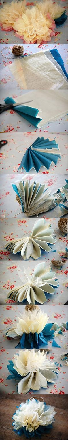 DIY Tutorial: Flower Crafts...I like these because they include the tool or lace in the middle. I thought it gave them a little bit extra. Pom Poms, Tissu Paper, Fabric Flowers, Tull Flower, Flower Crafts, Tissue Paper Flowers, Flower Tutorial, Tissue Flowers, Parti