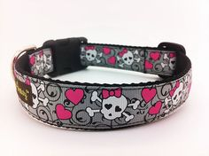 Dog Collar with Skulls and Hearts  1 width  by BiscuitandGravy, $24.00