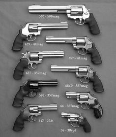 Smith and Wesson revolvers - one of each please (except the .357 snubby, got that one ;) )