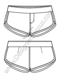 V4 Knit Flats Track Shorts Free Illustrator Fashion Technical Drawing Template - free download of this Adobe Illustrator fashion flat sketch template + More fashion technical drawing templates at www.designersnexus.com! #flatsketches #shorts #fashiondesign #fashiontemplates #vector #fashionsketch