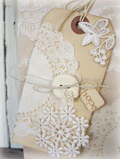 Tag with doily
