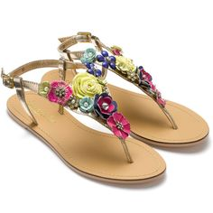 Accessorize Summer Bloom Sandals ($76) ❤ liked on Polyvore
