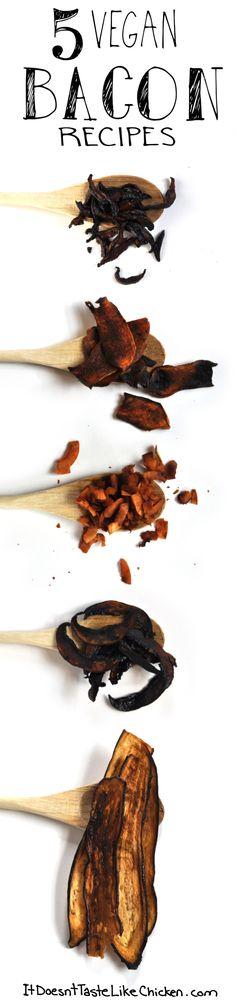 FREE ebook: 5 Vegan BACON Recipes! No tofu, tempeh, or seitan! These recipes are made with veggies!