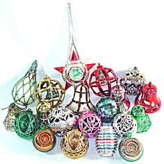 Bradford 1950s Plastic Christmas Ornaments With Tree Topper