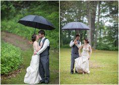 Barn Wedding Rainy Day Kiss
