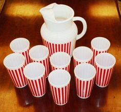 Vintage Hazel Atlas Anchor Hocking Candy Stripe Glass Tumblers
