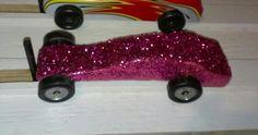 Girly pinewood derby car! puff derbi, pink gir, derbi car, pinewood derbi, girl scout, girly pinewood derby cars