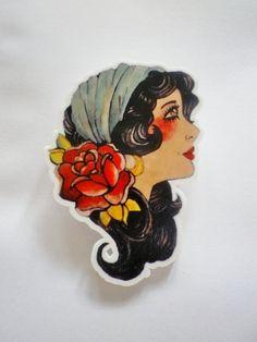 CIRCUS Carnival Gypsy Tattoo Brooch.