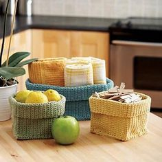 A pattern for crocheting containers.  Have you seen this cool website, ravelry.com?  This picture is from Lily Yarns (http://www.sugarncream.com).