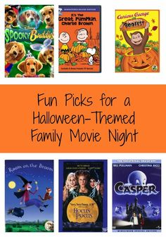 Fun Picks for a Halloween-Themed Movie Night.  Put on your spooky pajamas, prepare a festive snack, & watch one of these movies as a family!