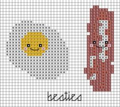 This bacon and eggs design would be completely adorable on kitchen towels or on corners of a set of placemats, or maybe those little mug and toast mats that seem popular for desks and breakfast noo...
