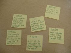 """Post-it Note Counseling- have kids read through a list of """"uncomfortable feelings"""" and write each on a separate post-it note. Next, sort the notes in order of intensity. Use this as a way to organize scattered thoughts, identify feelings, and give direction to counseling sessions."""