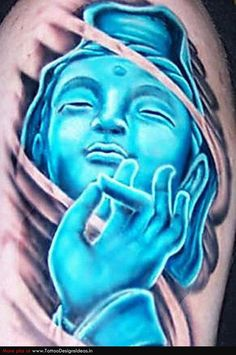 Blue Krishna tattoo.