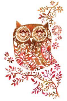 all-things-bright-and-beyootiful: Owl ~ by Oksana Borodina