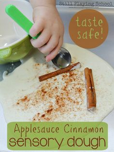 Still Playing School: Applesauce Dough for Sensory Play for #PlayfulPreschool