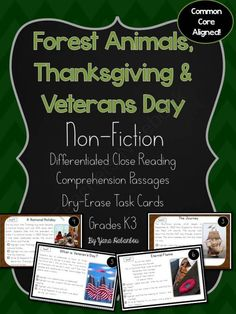 Thanksgiving, Forest Animals & Veterans Day Non-Fiction Reading K-3 from SeaofKnowledge on TeachersNotebook.com -  (29 pages)  - Reading Comprehension Task Cards: This pack would make a good addition to your unit during November. I created this by request and for use during reading & comprehension fluency. These cards are non-f
