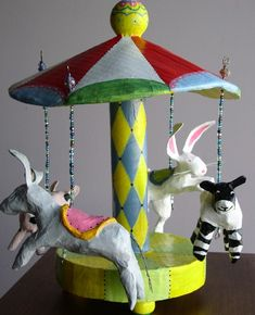circus carousel paper mache toy