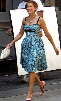 Happy Carrie in lovely blue dress