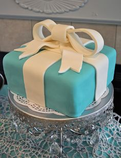 Gorgeous cake at a Tiffany's birthday party!  See more party ideas at CatchMyParty.com!