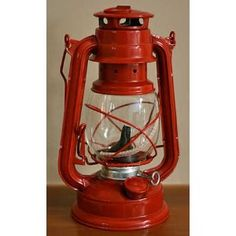 Red Real Working Railroad Lantern for Display, Centerpiece or Decoration