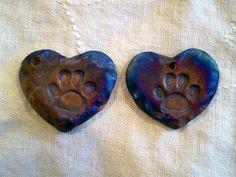 Paw Print Heart Beads Raku Bead Porcelain by spinningstarstudio, $3.00