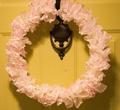 This Pink Dot Valentine's Wreath is actually made from coffee filters!