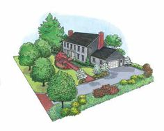 Center-Hall Colonial-Style Landscape (HWBDO10988) | House Plan from BuilderHousePlans.com