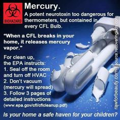 CFLs: So green, so clean. Mercury and Ultraviolet Radiation  and  Electromagnetic Radiation and Dirty Electricity http://www2.epa.gov/cfl http://www.sciencebasedmedicine.org/cfls-dirty-electricity-and-bad-science/