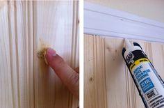 How to paint beadboard/planked wall - wood filler, DAP Acryrlic Latex Caulk Plus Silicone (paintable caulk), Zinsser Bullseye 1-2-3 Primer, semi gloss paint to match baseboards