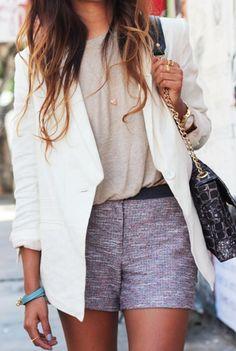 Tweed shorts.
