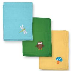 Multi-purpose muslin cloth squares with adorable embroidery designs; in 3 color sets from http://iplaybabywear.com