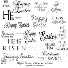 Easter digital Stamps - Word Art - Quotes for Easter, Scriptures, Christian sayings, Jesus, Christ, He is Risen, Celebrate the Savior, Gina Jane Designs - DAISIE Company