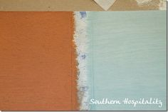 new technique - dipping brush in water & then paint explained here - paint is barcelona orange & duck egg blue annie sloan chalk paint