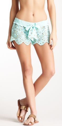 Mint studded shorts
