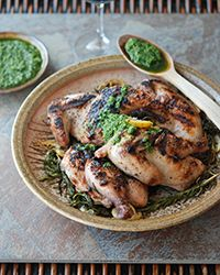 Grilled Cornish Hens with Salsa Verde #recipe