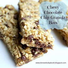 Homemade Chewy Chocolate Chip Granola Bars Low Fat/Low Sodium Version: 2 cups quick cooking oats 1 cup crisp rice cereal 1/4 cup unsweetened shredded coconut 1/2 cup mini chocolate chips 1/4 - 1/2 cup brown sugar (according to taste) 1/2 cup unsweetened applesauce or Fat Free Vanilla Chobani Yogurt, 1/2 cup honey 1 tsp. vanilla  Method: Mix all ingredients together until well combined.  Press into a cooking sprayed 9 x 13 pan and bake at 350 for 20 minutes.  Cool completely and cut into bars.