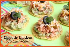 Chipotle Chicken Tostada Bites from SixSistersStuff.com. Perfect for a party or appetizer!
