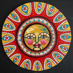 folk art, art sun, solar power, color combin