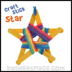Craft Stick Star with Yarn Craft from www.daniellesplace.com