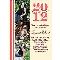 Add three of your favorite photos to this Classy Graduation Photo Invite! graduat invit, madi graduat, born photo, invit idea, keith pic, graduation photos, graduat idea, diy creativ