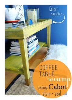 Before & After Coffee Table Revamp with Sunshine yellow Stain by @Cabot Woodcare and gold-dipped legs.  Created by @Jenna_Burger, www.sasinteriors.net
