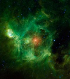 The Wreath Nebula (Barnard 3) glows green in space in this Wide-field Infrared Survey Explorer (WISE) image. Credit: NASA/JPL-Caltech/UCLA
