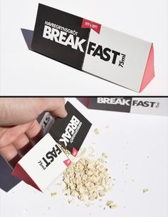 BREAK FAST Packaging  Creative taste pack contains oatmeal with added sugar and salt.