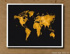 Black and Gold World Map
